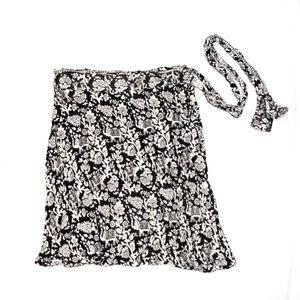Black and white wrap skirt